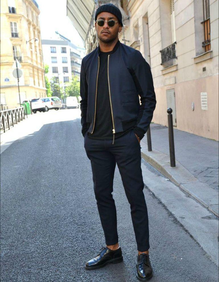 9a71bd8c9a5 black bomber jacket mens street style. black bomber jacket mens street  style Black Outfit Men