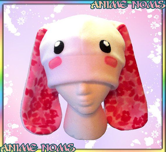 Blushy Flower Bunny Hat : Anti-pill  Fleece Spring Easter Rabbit by AnimeNoms, $20.00