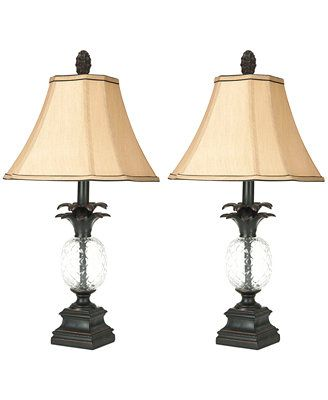 Safavieh set of 2 alanna glass pineapple lamps macys