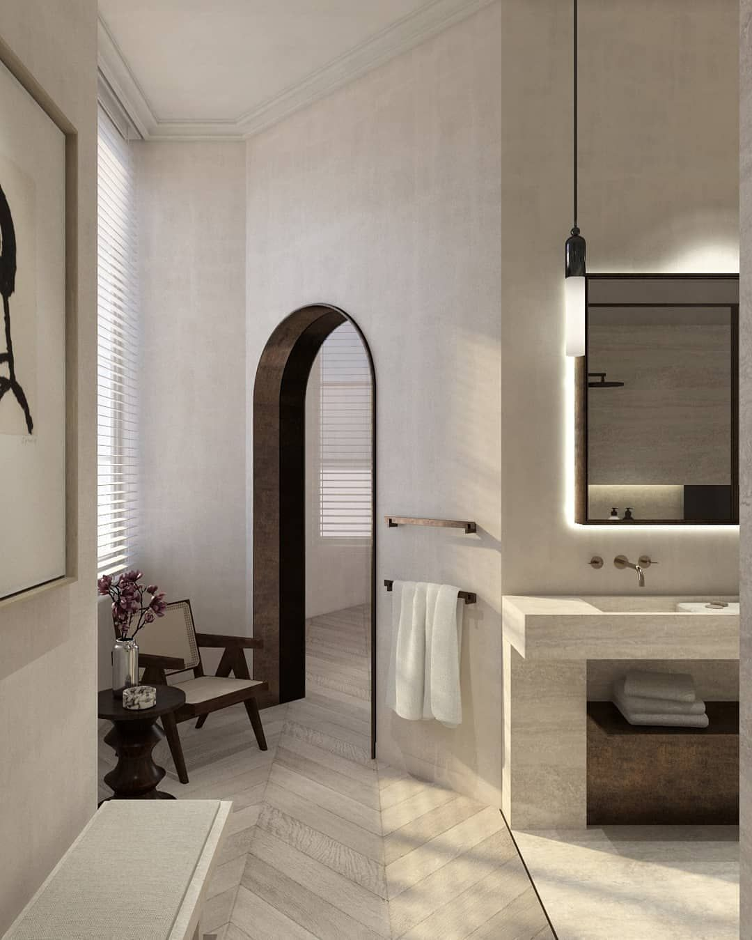 Courtney Interior Design On Instagram Doors And Floors Another Day Another Curved Doorway Jeanneret In 2020 Serene Bathroom Home Decor Styles Home Remodeling