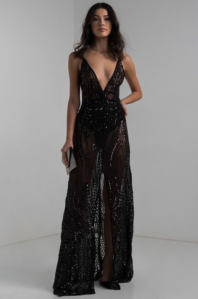 AKIRA Sheer Mesh Front Slit Bodysuit Plunging Sweetheart Sequin Maxi Gown  in Black 88d26fdf83fd
