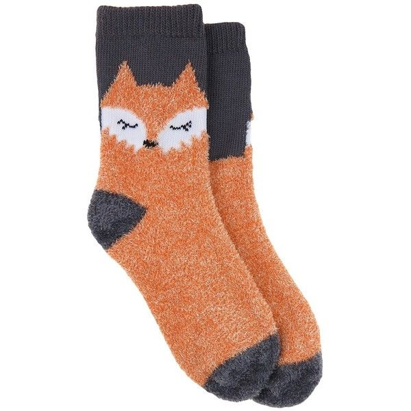 76d5ea73b Women's Sleepy Fox Cozy Socks (£3.26) ❤ liked on Polyvore featuring  intimates, hosiery, socks, accessories, shoes, socks and tights, orange,  target socks, ...