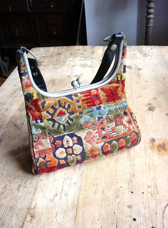 Vintage Boho 1960s Chenille Carpet Bag Shoulder by VintageZipper, $22.00