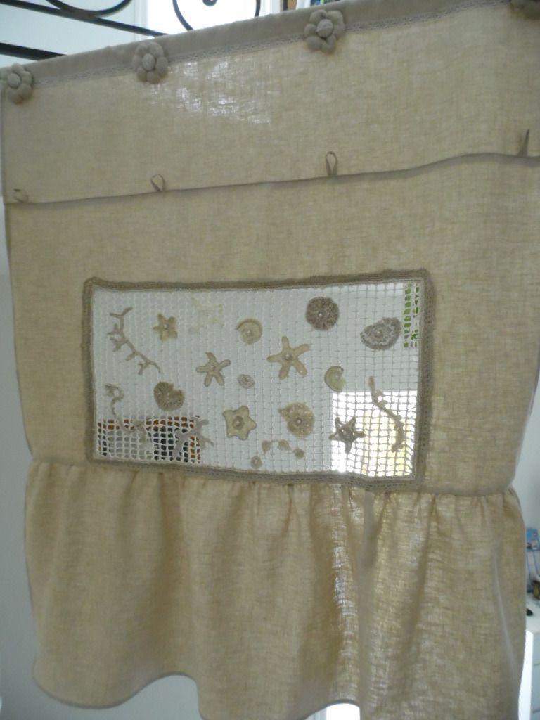 rideau store en lin cru avec lucarne filet de p che textiles. Black Bedroom Furniture Sets. Home Design Ideas