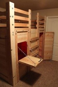 lofted bed with a fort underneath great diy project to do with your kids kids bed. Black Bedroom Furniture Sets. Home Design Ideas