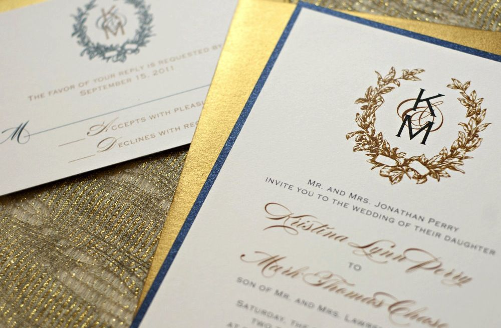 Wedding Invitations Navy And Gold