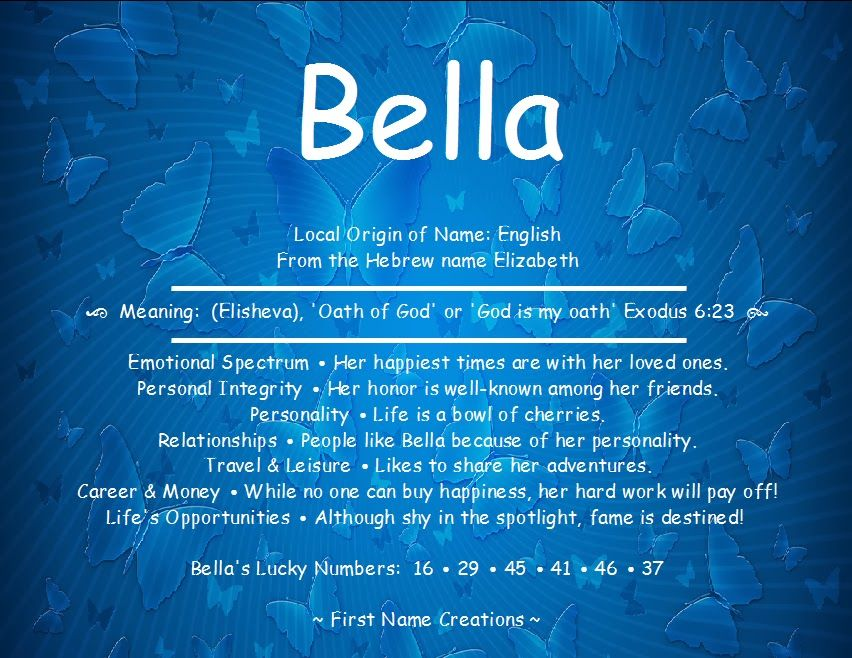 Bella Name Meaning - First Name Creations | Names with ...