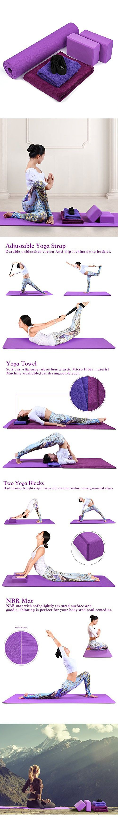 d12a643a2f Fitian Yoga Starter Kit 6 Piece-include 1 Yoga Mat, 2 Yoga Blocks, 1 Yoga  Strap, 1 Yoga Mat Towel, 1 Yoga Hand Towel Purple