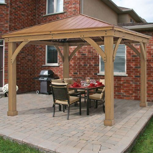 Metal Roof Gazebo Outdoor Aluminum Hardtop Patio Kits 12x12 Wooden Cedar Frame Patio Gazebo Backyard Patio Outdoor Patio
