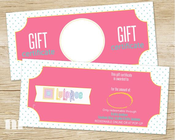 gift certificate for small business lularoe gift by mulligandesign