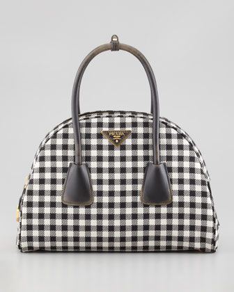 972264c1bc7d Vichy Vintage Bowler Bag, White/Black by Prada at Bergdorf Goodman. can't  decide if I love it or hate it-