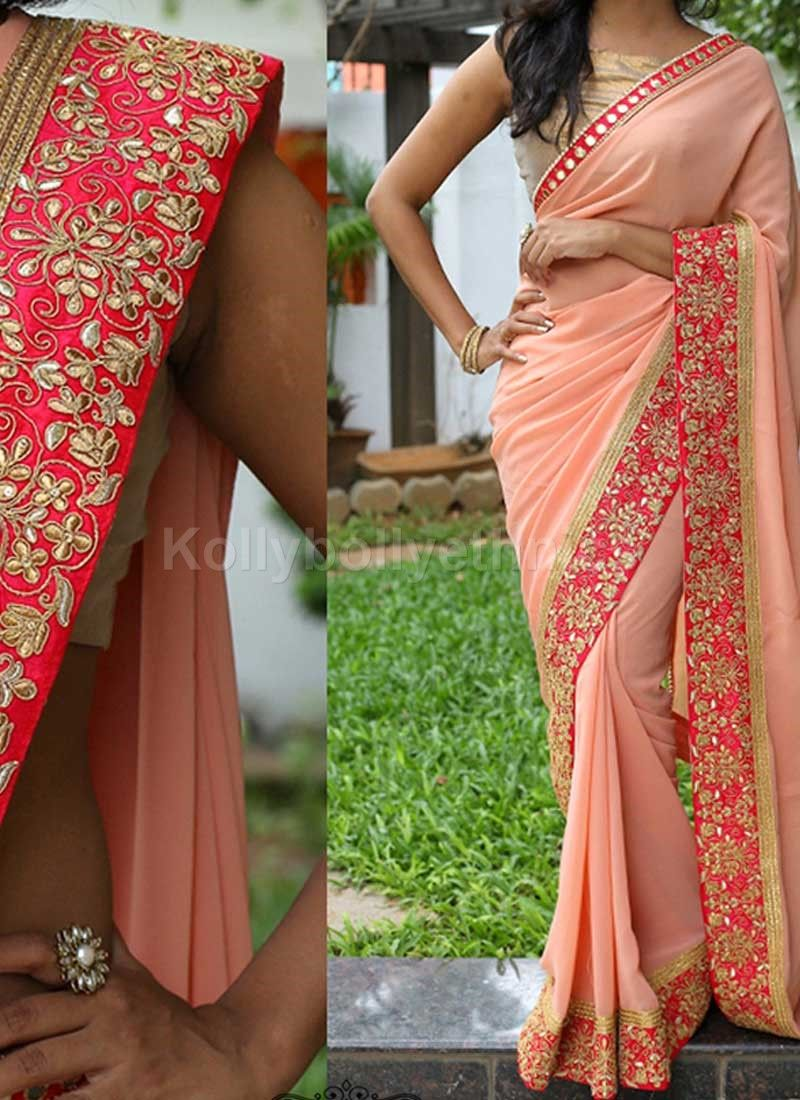 Peach color saree for wedding buy inspired style peach color georgette party wear saree online in