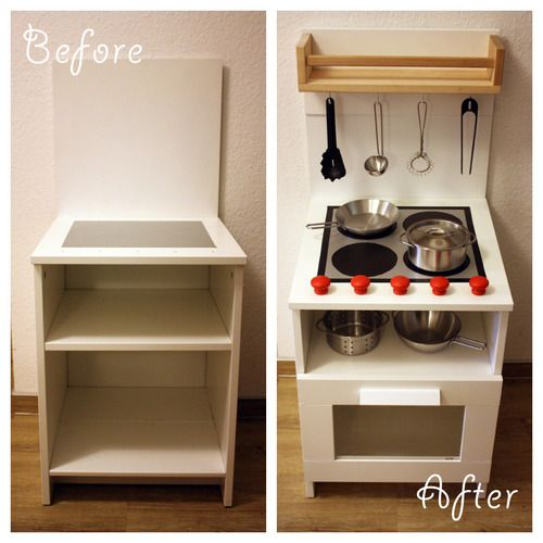 Wooden Play Kitchen Ikea diy play kitchen made from a bedside cabinet | diy ideas