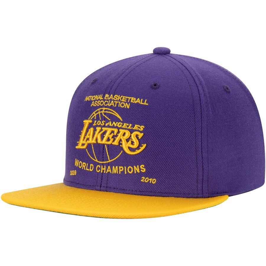Los Angeles Lakers Mitchell Ness Banner High Crown Snapback Hat Purple Crown Snapback Los Angeles Lakers Houston Rockets