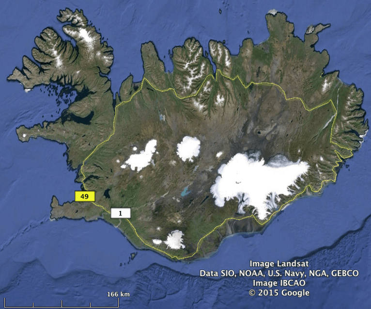 A google earth image with route 1 the ring road shown in yellow a google earth image with route 1 the ring road shown in yellow note that it doesnt pass through the western fjords which are often difficult in the gumiabroncs Images
