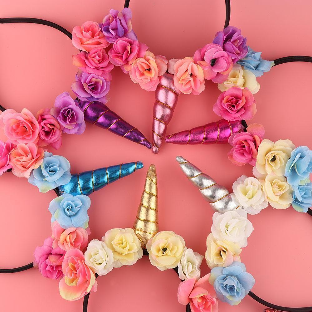 Glitter Kids Girls Unicorn Horn Flower Headband Fancy Dress Hair Accessories