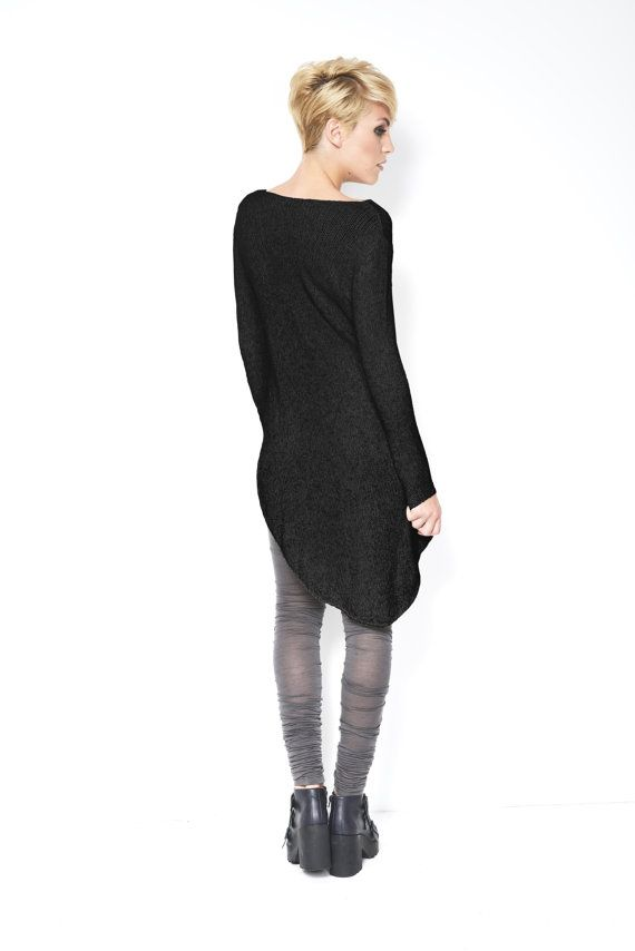 Asymmetrical Oversized Sweater / Casual Tunic / Black Sweater / Casual Top / Long Sleeve Blouse / Casual Shirt / Linen/ marcellamoda - MB119 $94.00