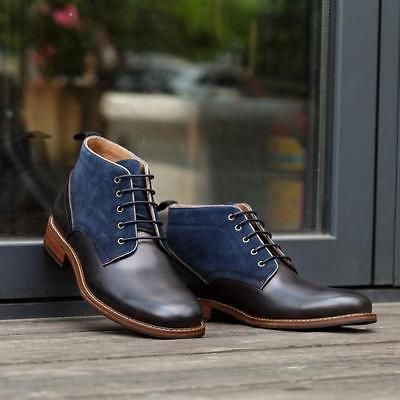 handmade mens two tone chukka boots men casual ankle