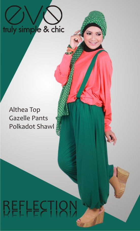 Althea Top  Material : Rayon Spandek  Colour : Orange Coral    Gazelle Pants  Material : Rayon Spandex  Colour : Green Bootle