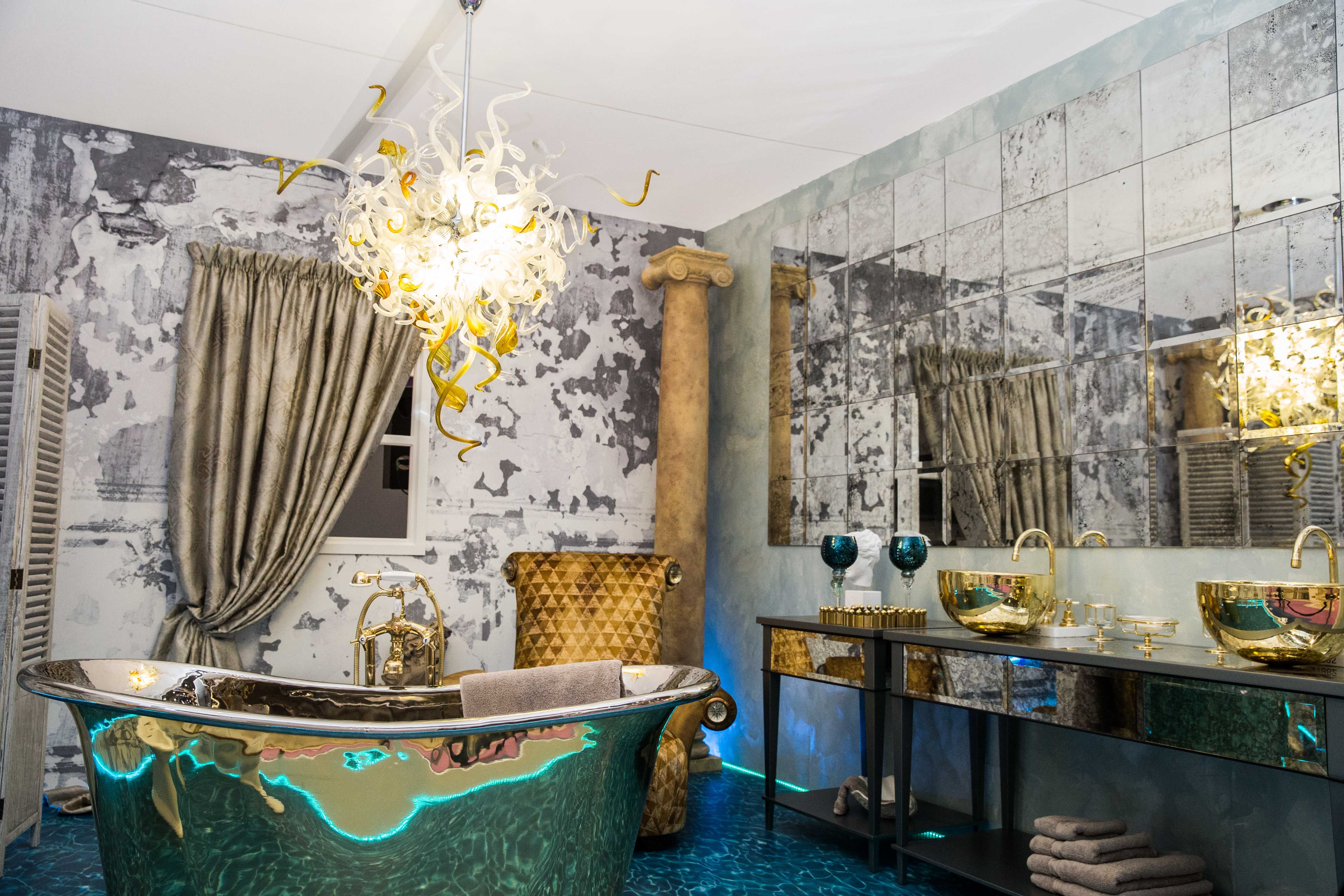 this metallic and crushed velvet bathroom inspired by the lost city included a