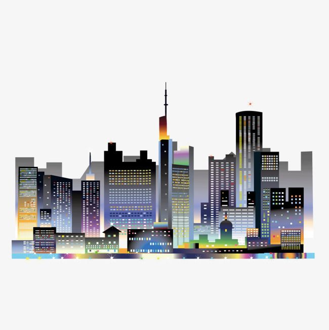 Vector Cartoon Lights Bright City Night Sky Landscape Cartoon Vector City Vector Landscape Vector Png Transparent Clipart Image And Psd File For Free Downloa Sky Landscape City Vector Night Skies
