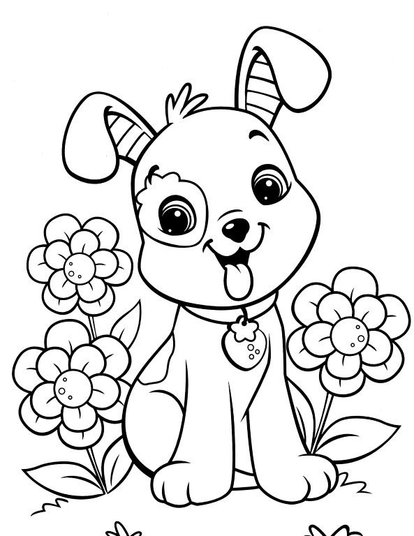Easy Coloring Pages Puppy coloring pages, Dog coloring