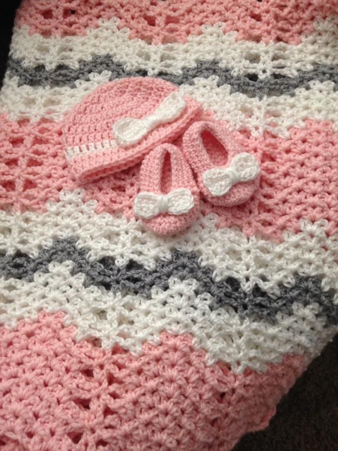 Chevron Baby Blanket with Hat & Booties - Crochet creation by ...
