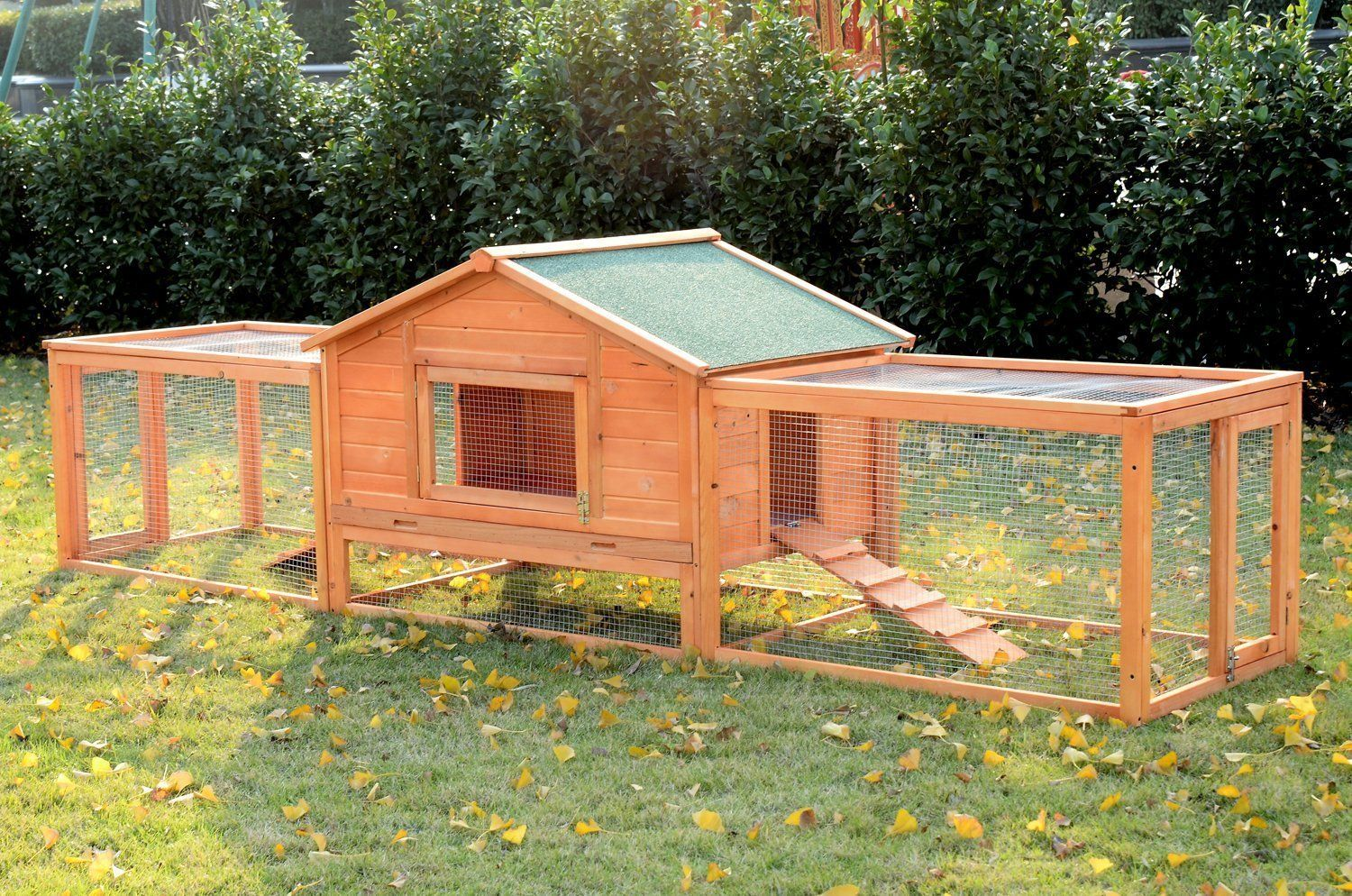 pawhut wooden rabbit hutch with 2 runs 122 u0027 hurry check out