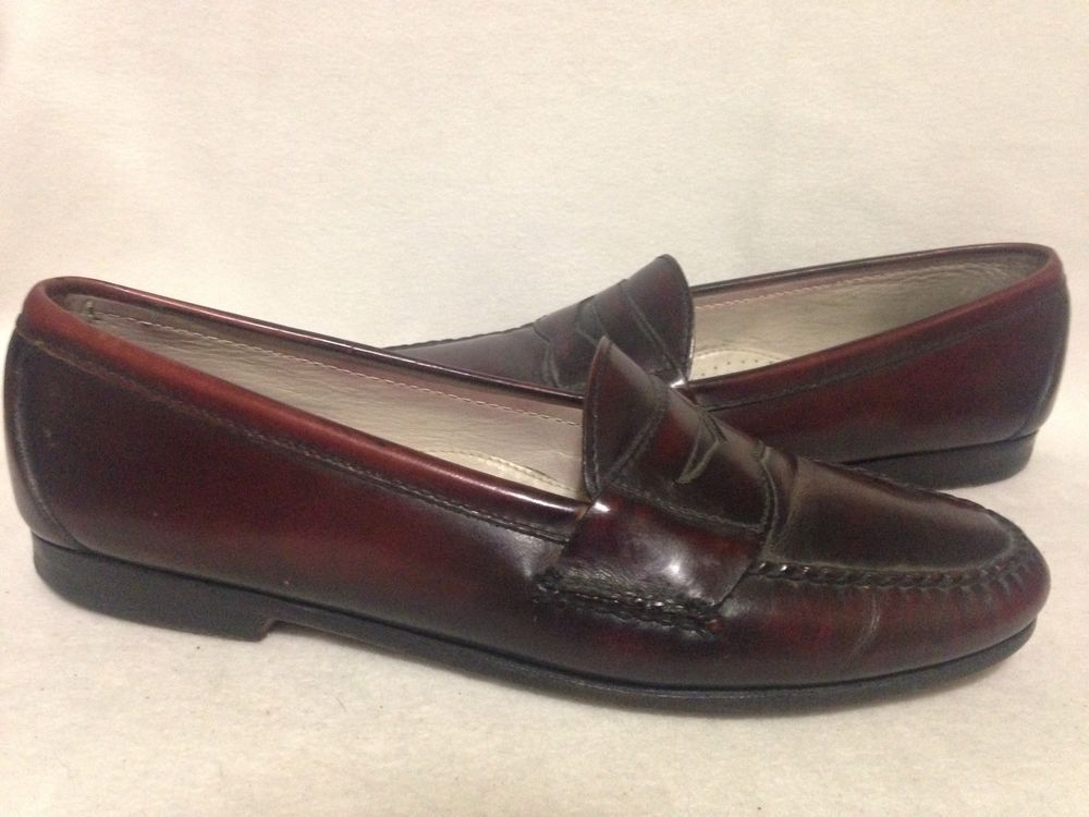 Vintage Cole Haan Cordovan Burgundy Penny Loafers Size 10 D