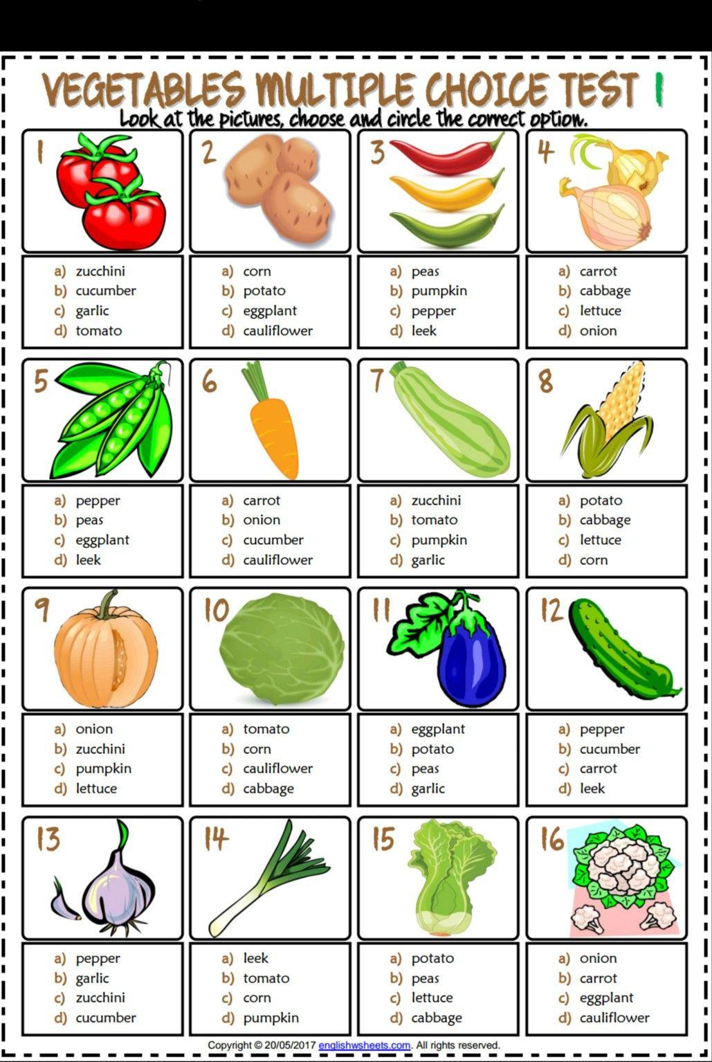 Vegetables Esl Printable Multiple Choice Tests For Kids
