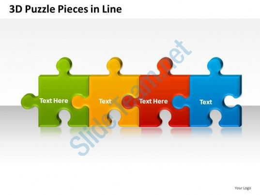 3d Puzzle Pieces In Line Powerpoint Presentation Slides Slide01