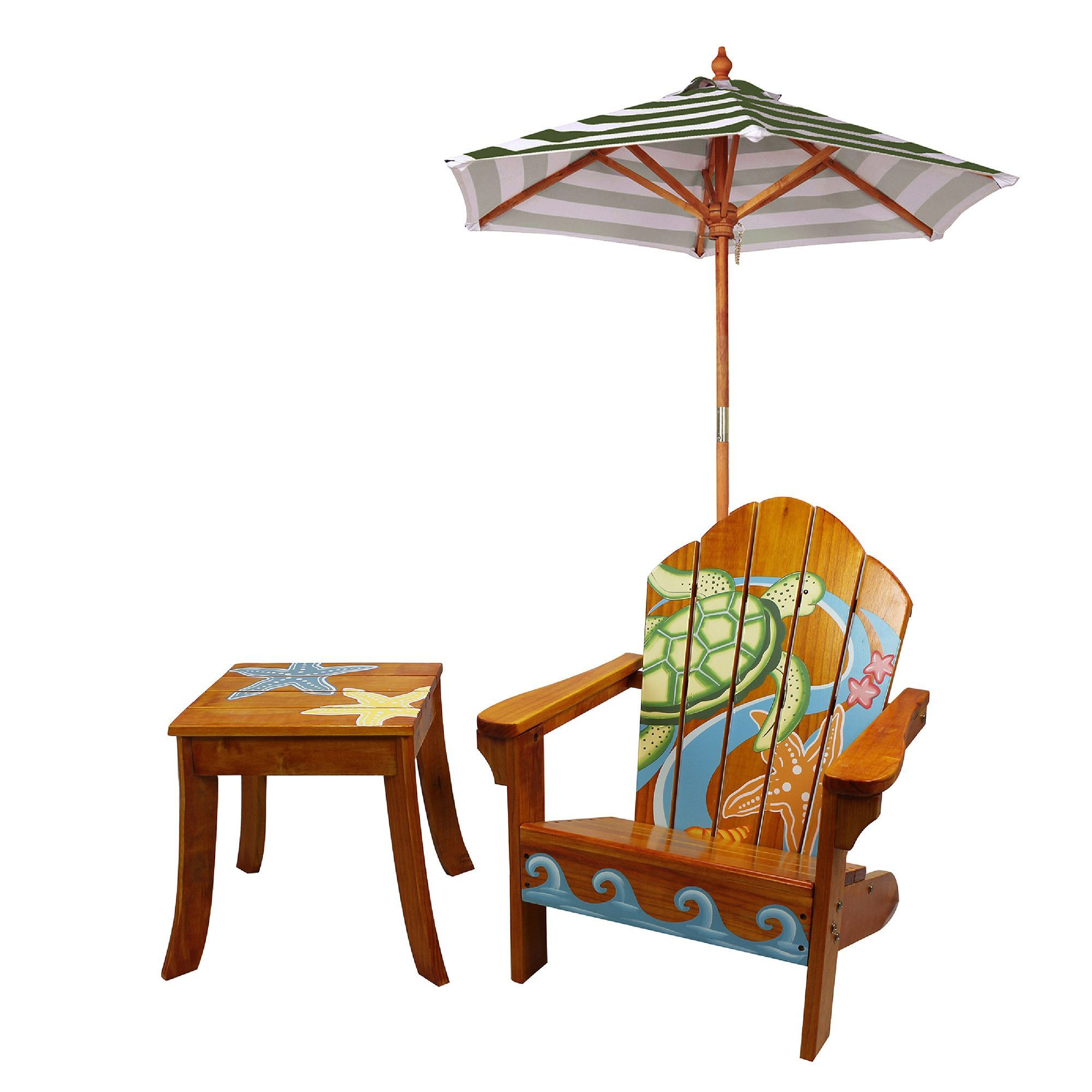 Winland Sea Turtle Outdoor Wood Table & Chair Set in