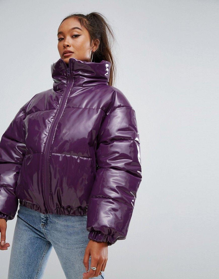 ASOS High Shine Patent Puffer Jacket - Purple  5bdf4af57