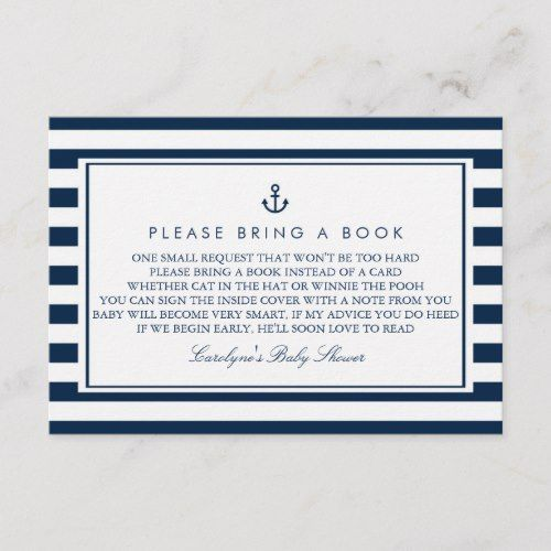 Navy Blue Nautical Baby Shower Please Bring a Book ...