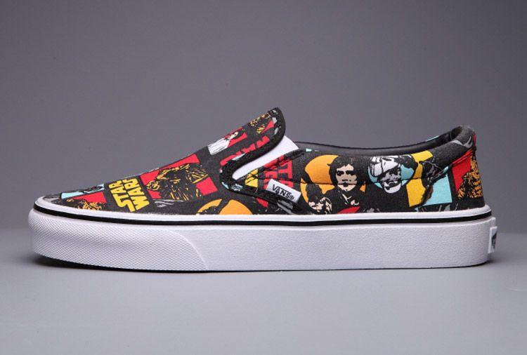 Vans Star Wars Black Slip On Manga Skateboard Shoes #Vans