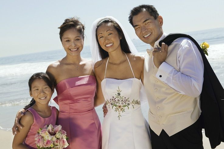 A Happy Couple And The Bridesmaids Enjoying Bermudas Beach Thinkingofbermuda