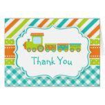 Orange and Green Choo Choo Train Thank You Card  Orange and Green Choo Choo Train Thank You Card  $3.50  by KlouiseDigiParty  . More Designs http://bit.ly/2g9LYfi #zazzle