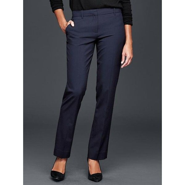 57491b05db651 Gap Women True Straight Pants ($60) ❤ liked on Polyvore featuring pants,  dark navy, tall, flat front pants, tall stretch pants, straight leg pants,  ...