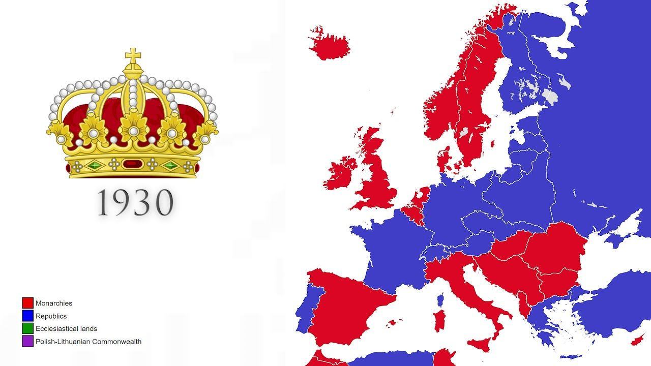 Monarchies In Europe Historical Maps Monarchy Europe