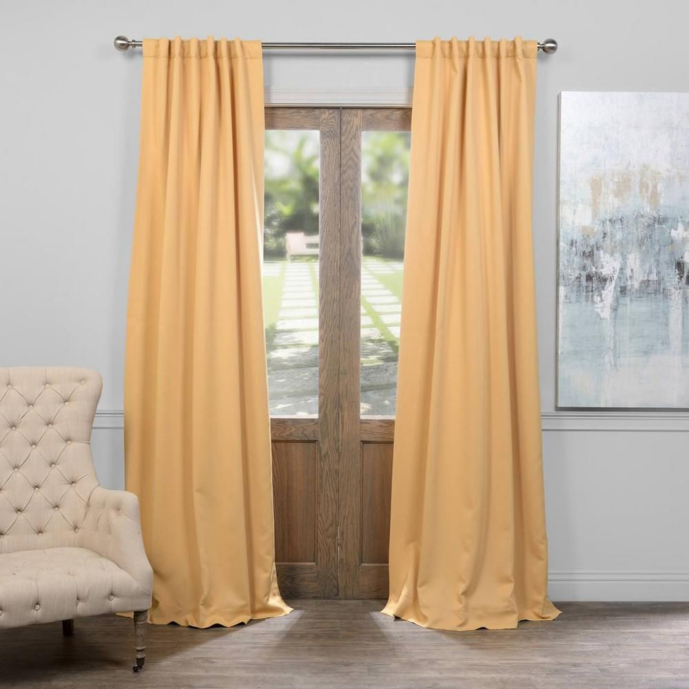Exclusive Fabrics U0026 Furnishings Midsummer Gold Blackout Curtain   50 In. W  X 120 In