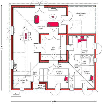mod le de maison villa patio retrouvez tous les types de maison vendre en france sur faire. Black Bedroom Furniture Sets. Home Design Ideas