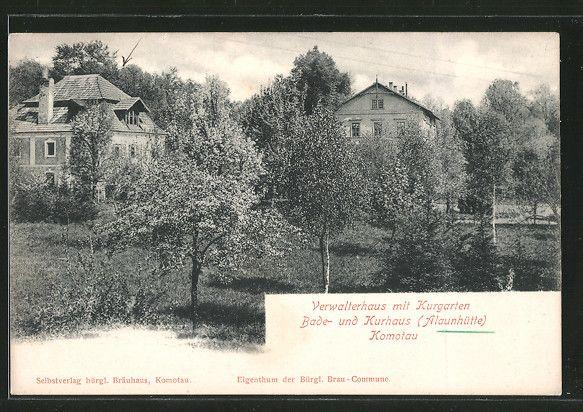 old postcard: AK Komotau / Chomutov, Bade- u. Kurhaus Alaunhütte, Verwalterhaus mit Kurgarten