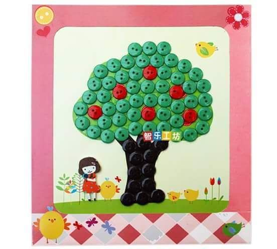 button tree and girl craft