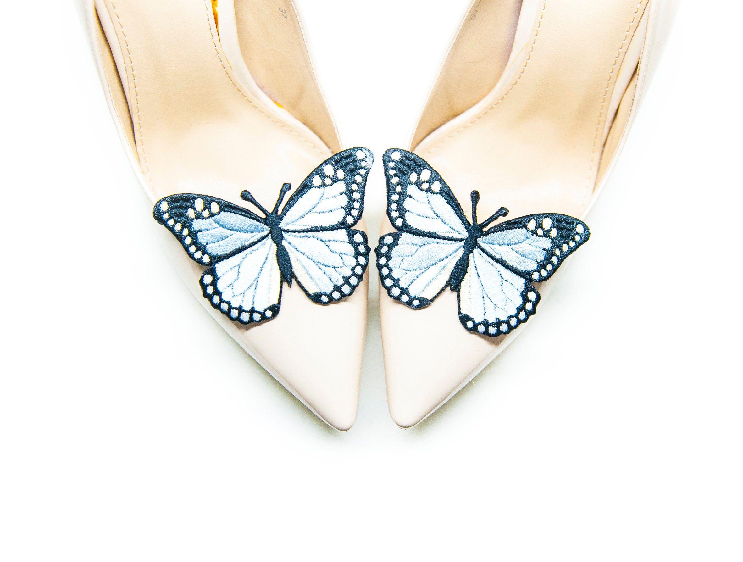 Blekitne Motyle Klipsy Spinki Do Butow Mififi Shoe Clips Mule Shoe Shoes