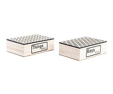 Set de 2 cajas en madera DM Keys - natural y negro