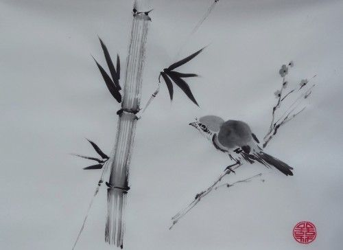 Aquarelle Sumi E Peinture Chinoise Oiseaux Abby Encre Peinture