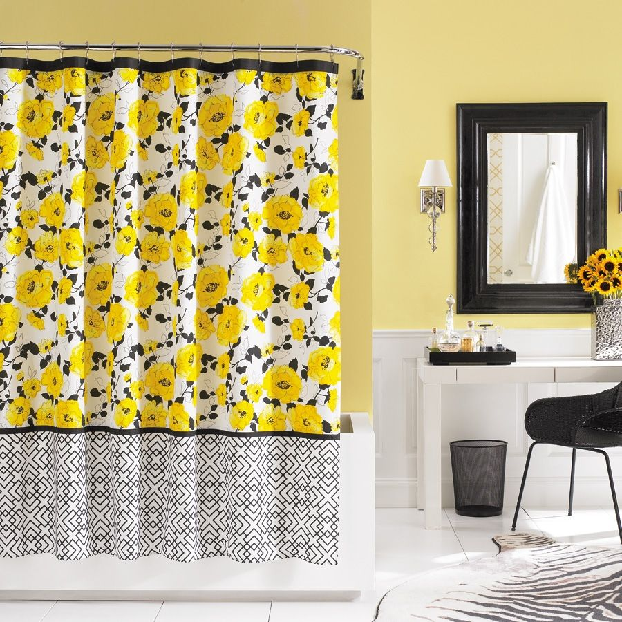 Yellow Black Shower Curtain