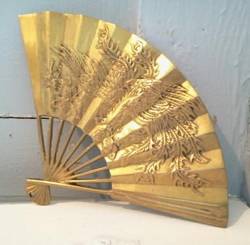 Vintage, Art, Brass, Fan, Dragon Pheonix, Feng Shui, Wall Hanging ...