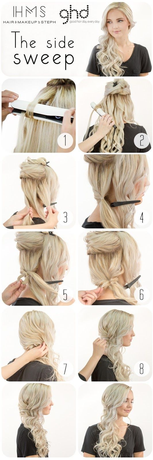 How To: Bridal Side Swept Hair (Hair and Make-up by Steph) | Side ...
