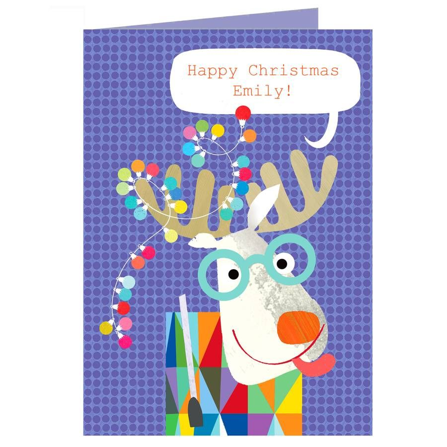 Personalised Christmas Moose Card | Moose, Christmas cards and Cards